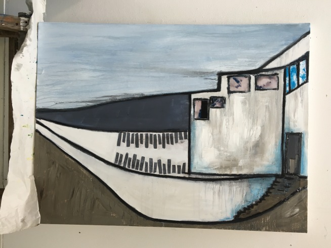 "Southwold Pier Mixed Media 24"" x 36"""