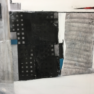 "Urban-Impossible Landscape Series Mixed Media 39"" x 59"" Shown at Art Van Go Solo Show."