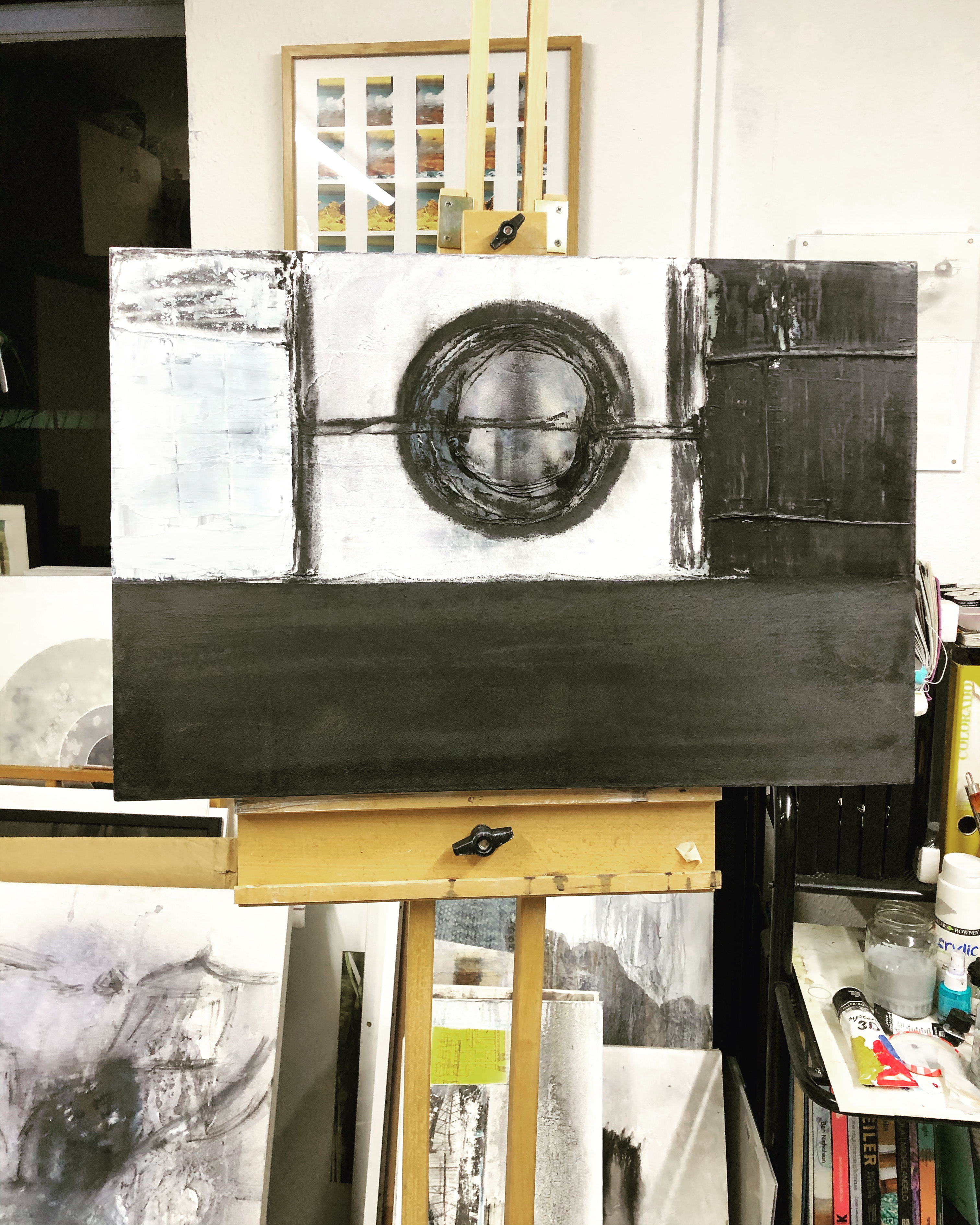first stage of reworking this old canvas..still wet w.i.p.